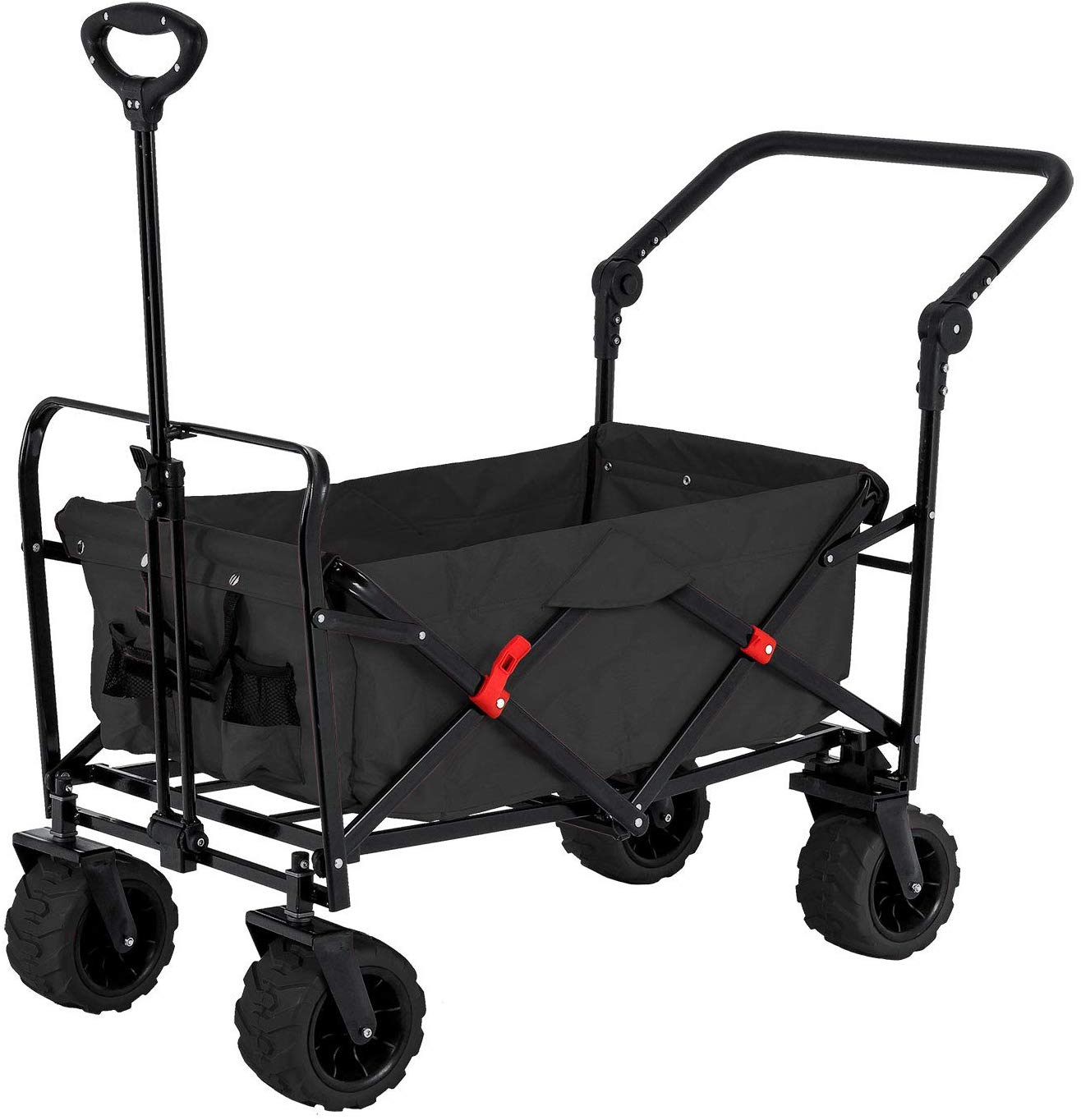 Black Wide Wheel Wagon All Terrain Folding Collapsible Utility Wagon with Push Bar - Portable Rolling Heavy Duty 265 Lb Capacity Canvas Fabric Cart Buggy