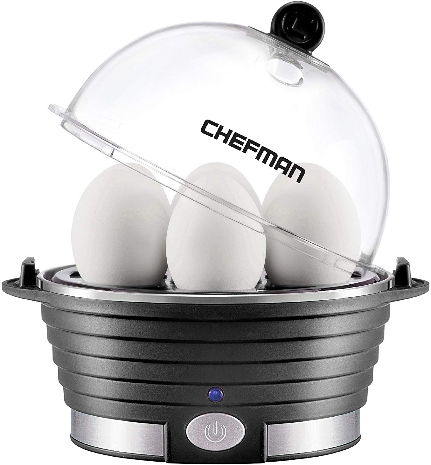 Chefman Electric Egg Cooker Boiler, Rapid Egg-Maker & Poacher, Food & Vegetable Steamer, Quickly Makes 6 Eggs, Hard, Medium or Soft Boiled, Poaching/Omelet Tray Included, Ready Signal, BPA-Free, Black