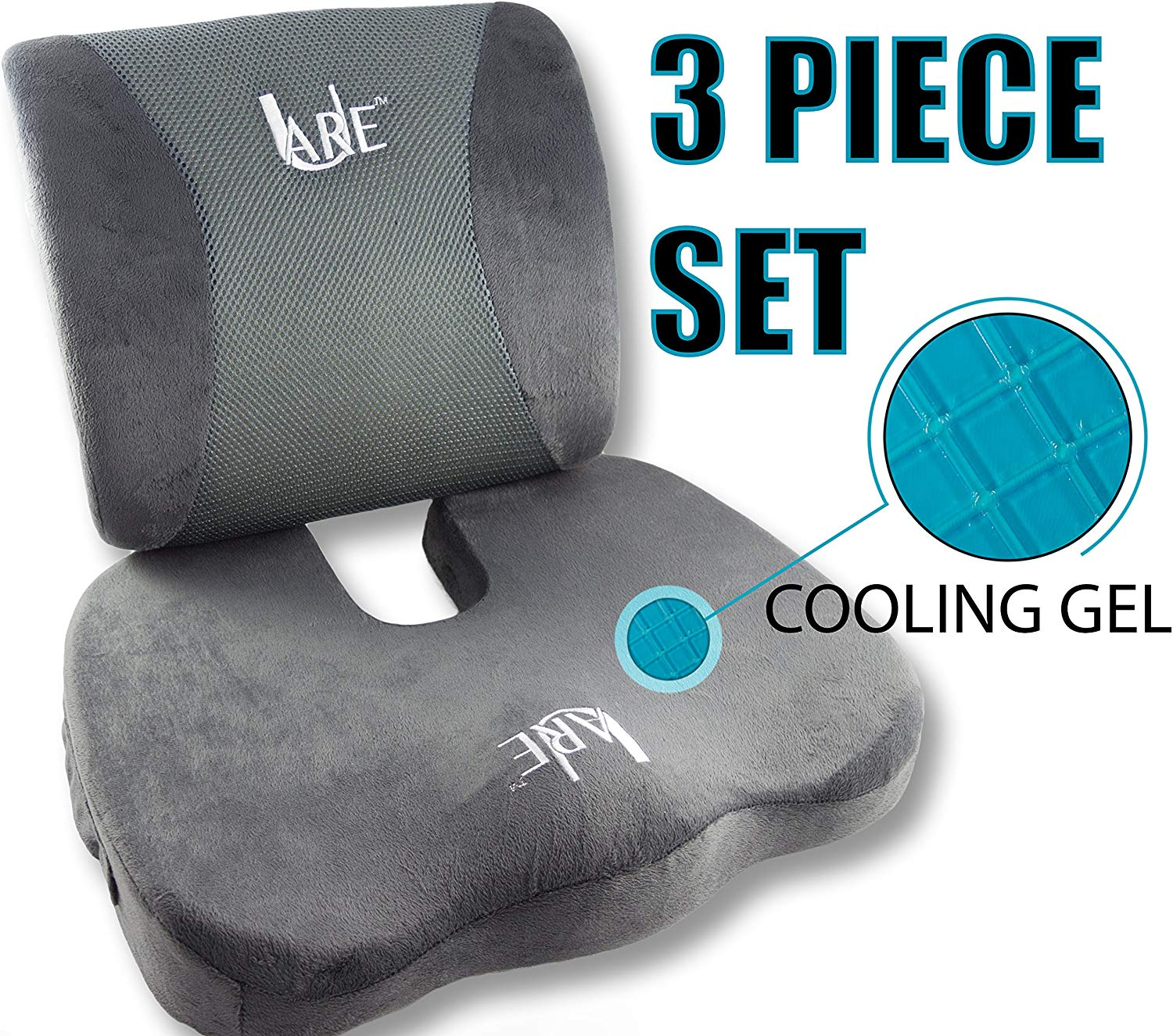 SET: Cool Gel Memory Foam Seat Cushion with Rain Cover and Lumbar Support Pillow for Office Chair and Car Seat Cushions - Ultimate Comfort Set Relieves Back Pain, Tail Bone Pain, Sciatica Seat Cushion