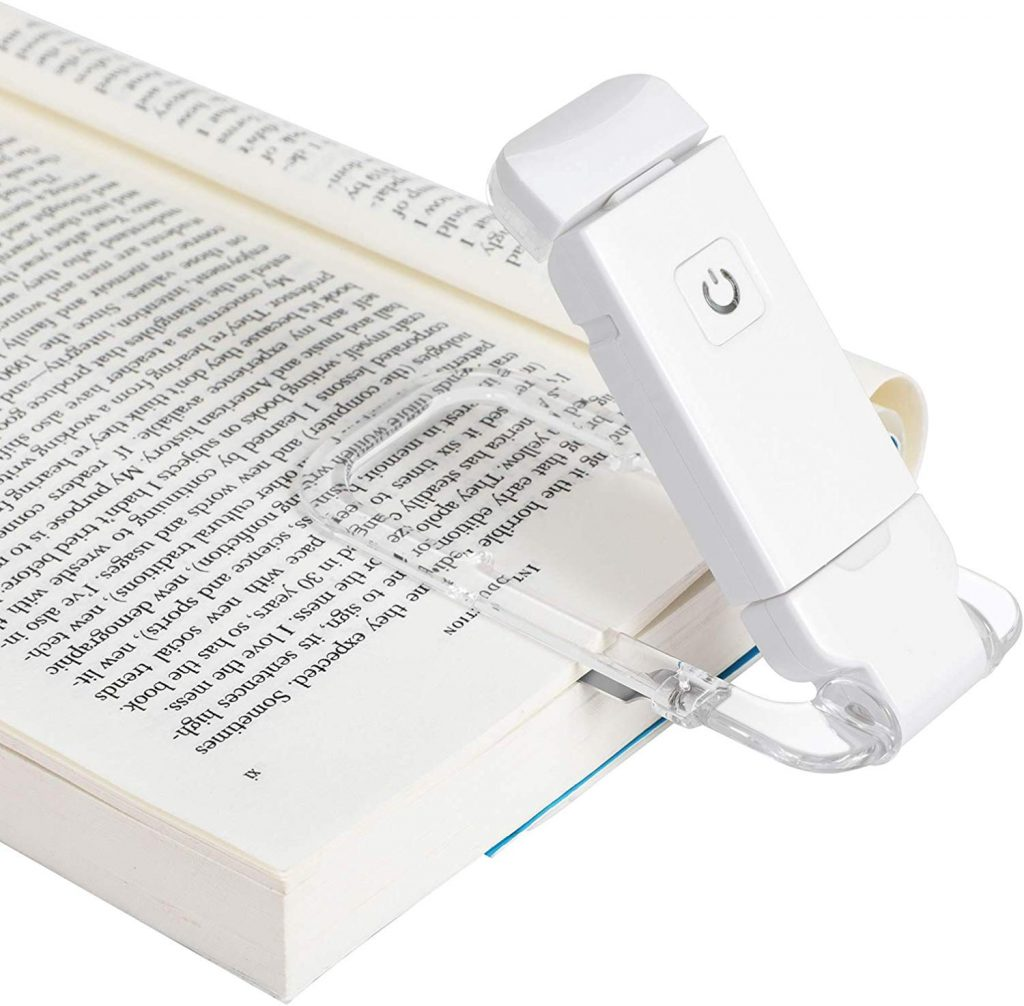 DEWENWILS USB Rechargeable Book Reading Light, Warm White, Brightness Adjustable for Eye-Protection, LED Clip on Book Lights, Portable Bookmark Light for Reading in Bed, Car