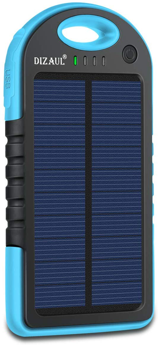 Dizaul Solar Charger, 5000mAh Portable Solar Power Bank