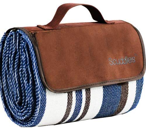 Extra Large Picnic & Outdoor Blanket Dual Layers for Outdoor Water-Resistant Handy Mat Tote Spring Summer Blue and White Striped Great for The Beach,Camping on Grass Waterproof Sandproof