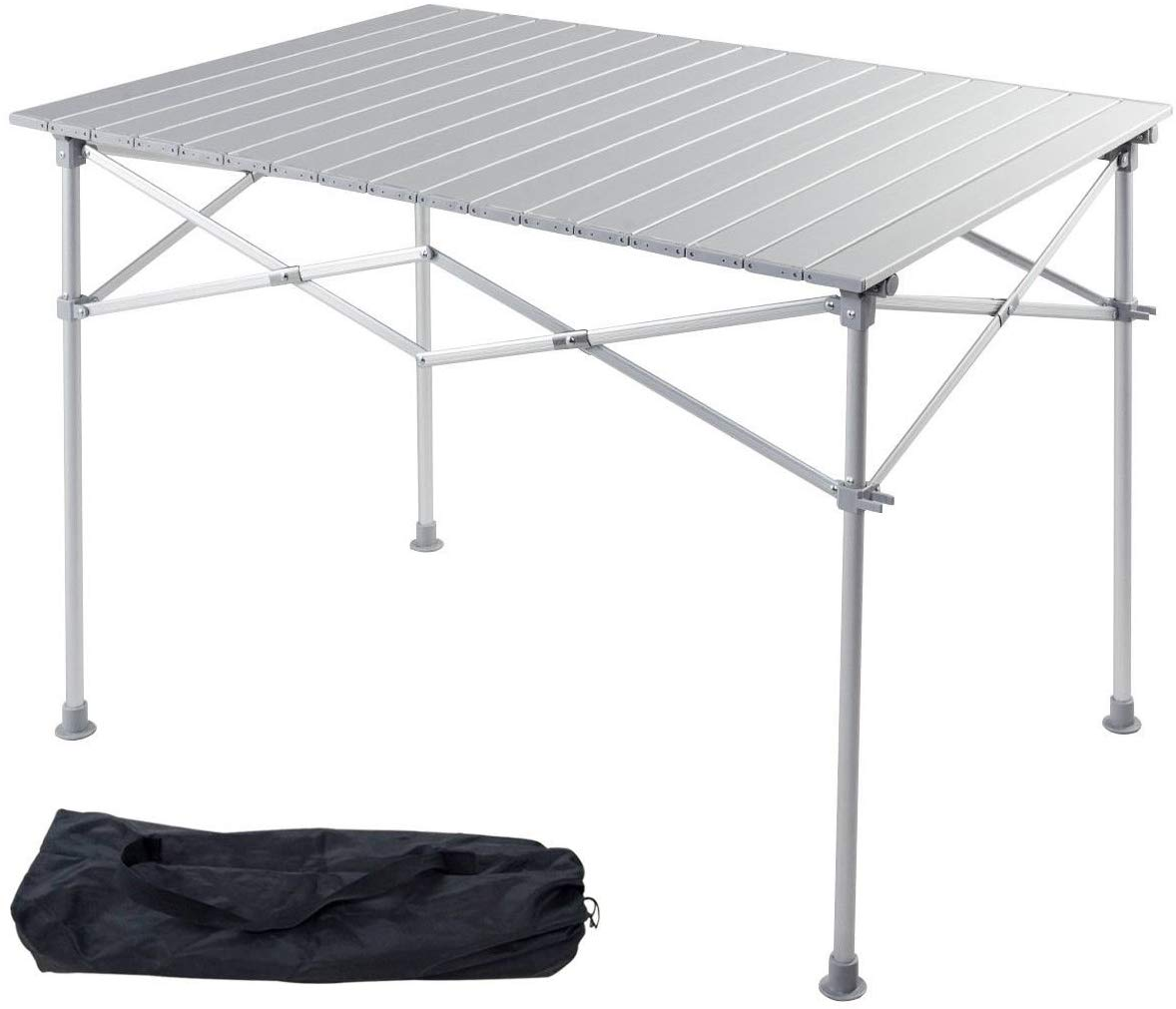 Giantex Portable Aluminum Folding Table Lightweight Outdoor Roll Up Camping Picnic Table with Storage Bag