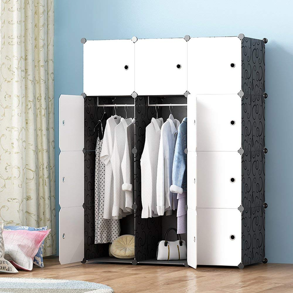 JOISCOPE Portable Wardrobe for Hanging Clothes, Combination Armoire, Modular Cabinet for Space Saving, Ideal Storage Organizer Cube for Books, Toys, Towels