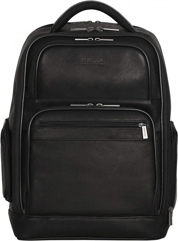 "Kenneth Cole Reaction Colombian Leather Dual Compartment 15.6"" Laptop Anti-Theft RFID Business Backpack"