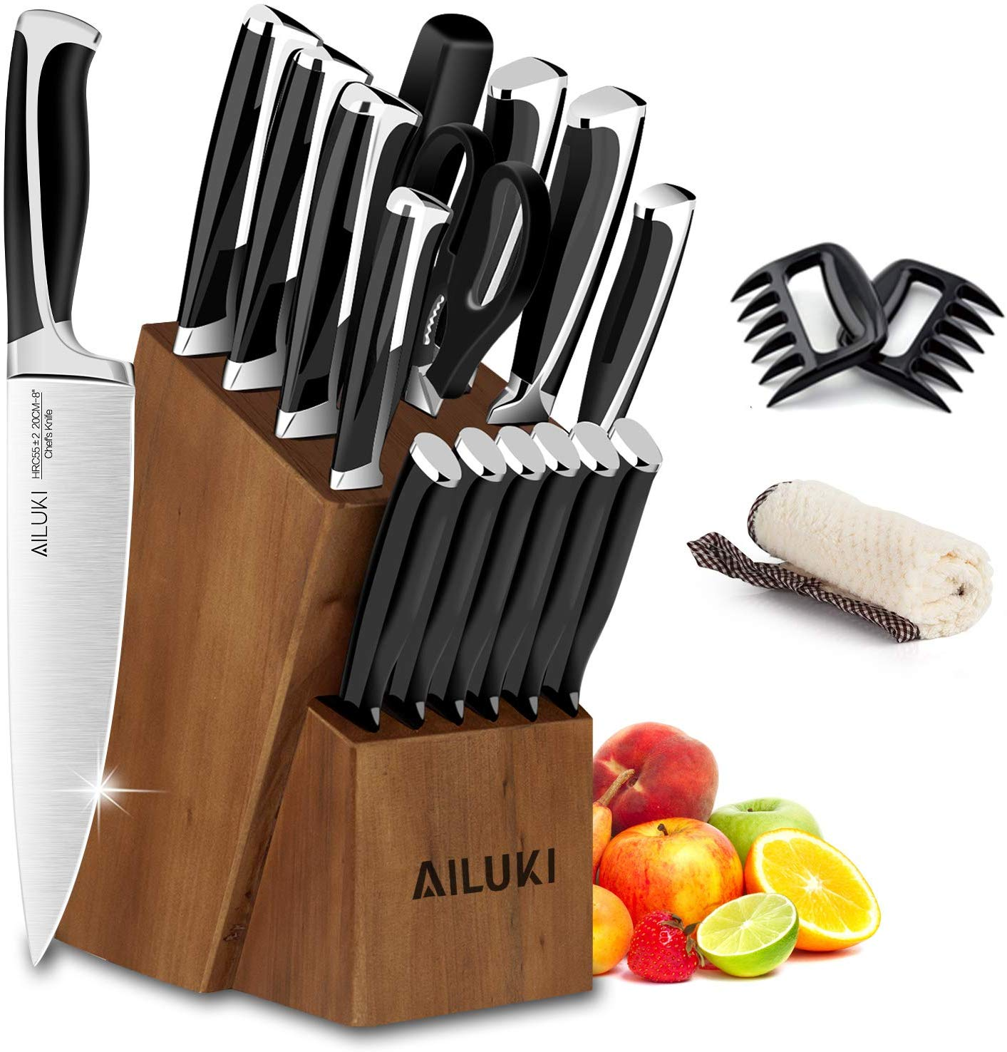 Knife Set, Kitchen Knife Set with Block, AILUKI 19 Pieces Stainless Steel Knife Set