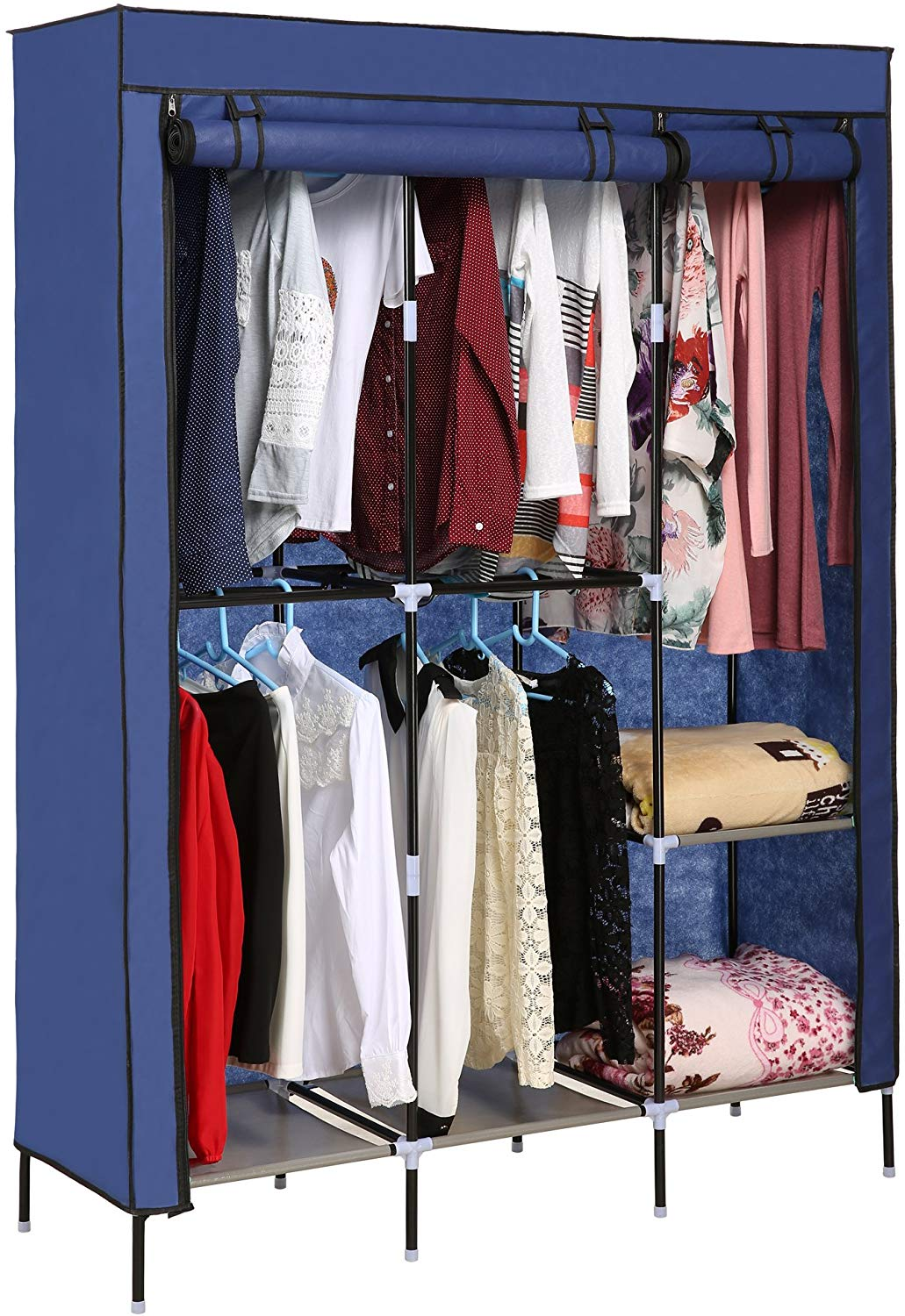 Korie Portable Clothes Closet Wardrobe Storage Double Rod Freestanding Closet with Non-Woven Fabric, Quick and Easy to Assemble