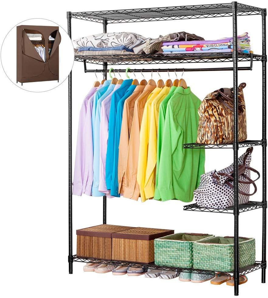 LANGRIA Heavy Duty Wire Shelving Garment Rack Clothes Rack, Portable Clothes Closet Wardrobe,Compact Zip Closet, Extra Large Wardrobe Storage Rack/Organizer, Hanging Rod