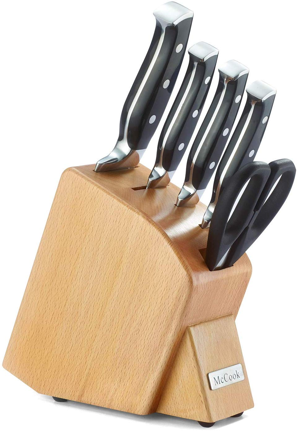 McCook MC41 6 Pieces Forged Triple Rivet Kitchen Knife Set in Natural Beech Wood Slim Block Approved by FDA