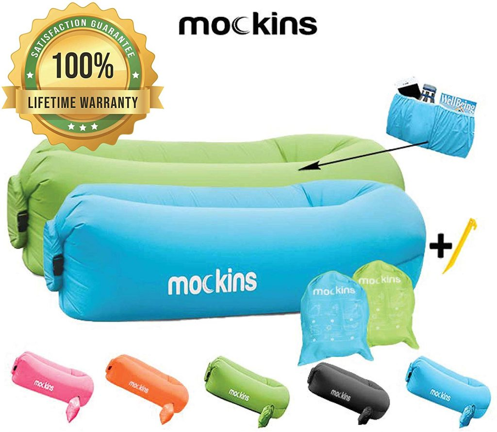 Mockins 2 Pack Inflatable Lounger Air Sofa Perfect for Beach Chair Camping Chairs or Portable Hammock and Includes Travel Bag Pouch and Pockets
