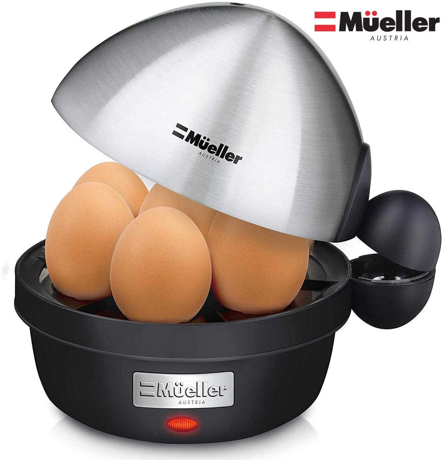 Mueller Rapid Egg Cooker, Hard Boiled Egg Maker with Auto Shut-Off, Noise-Free, 7 Egg Capacity and Stainless Steel Lid, Perfect for Keto Diets