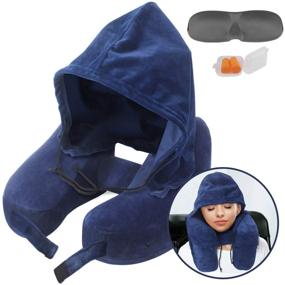 Neck Pillow Inflatable Travel Pillow Comfortably Supports The Head, Neck and Chin, Airplane Pillow with Soft Velour Cover, Hat, Portable Drawstring Bag, 3D Eye Mask and Earplugs