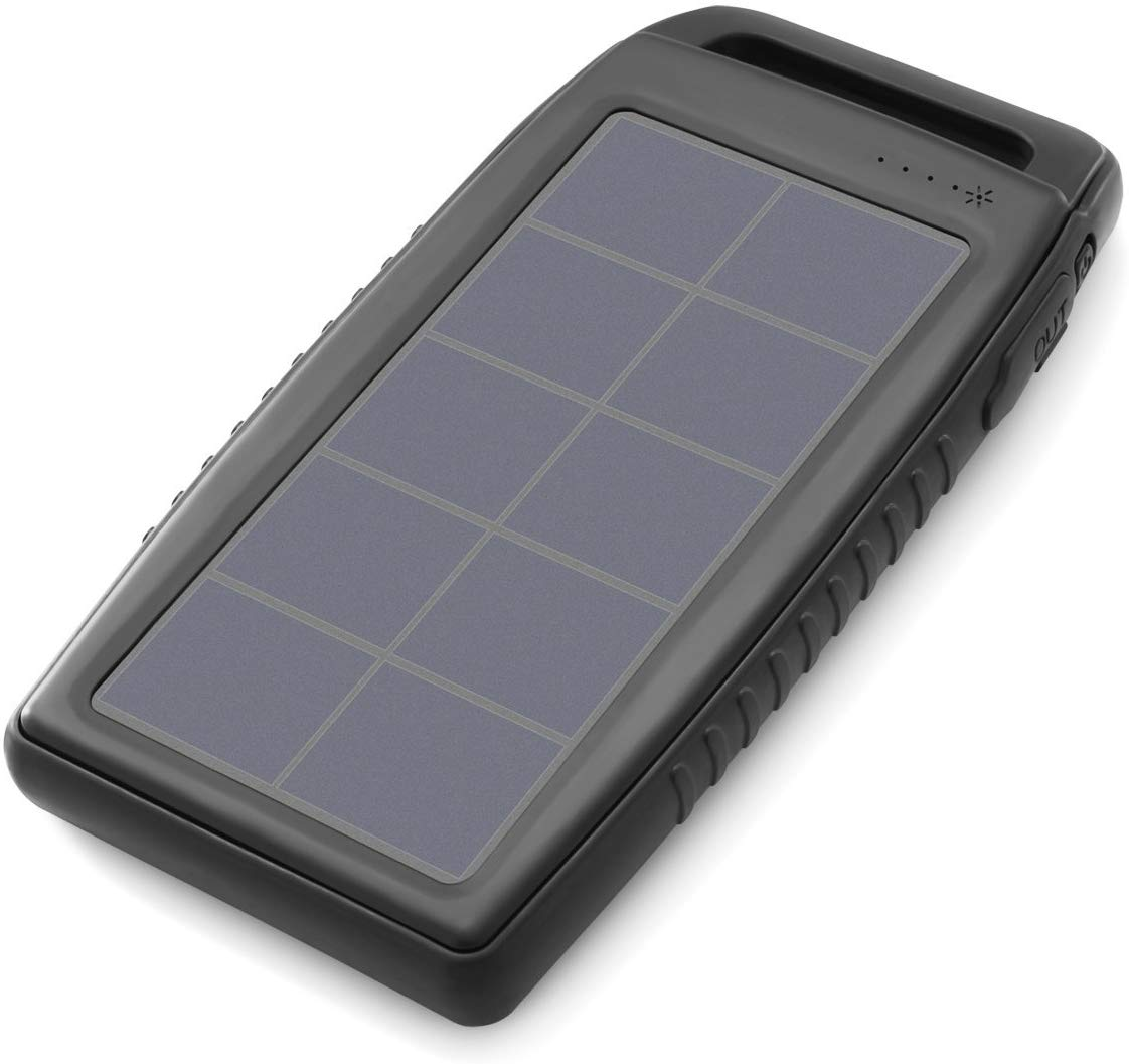 Nekteck Solar Charger 10000mAh Rain-Resistant Dirt/Shockproof Dual USB Port Portable Charger Battery with High-Efficiency SunPower Solar Panel Backup Power Pack for All USB Supported Devices