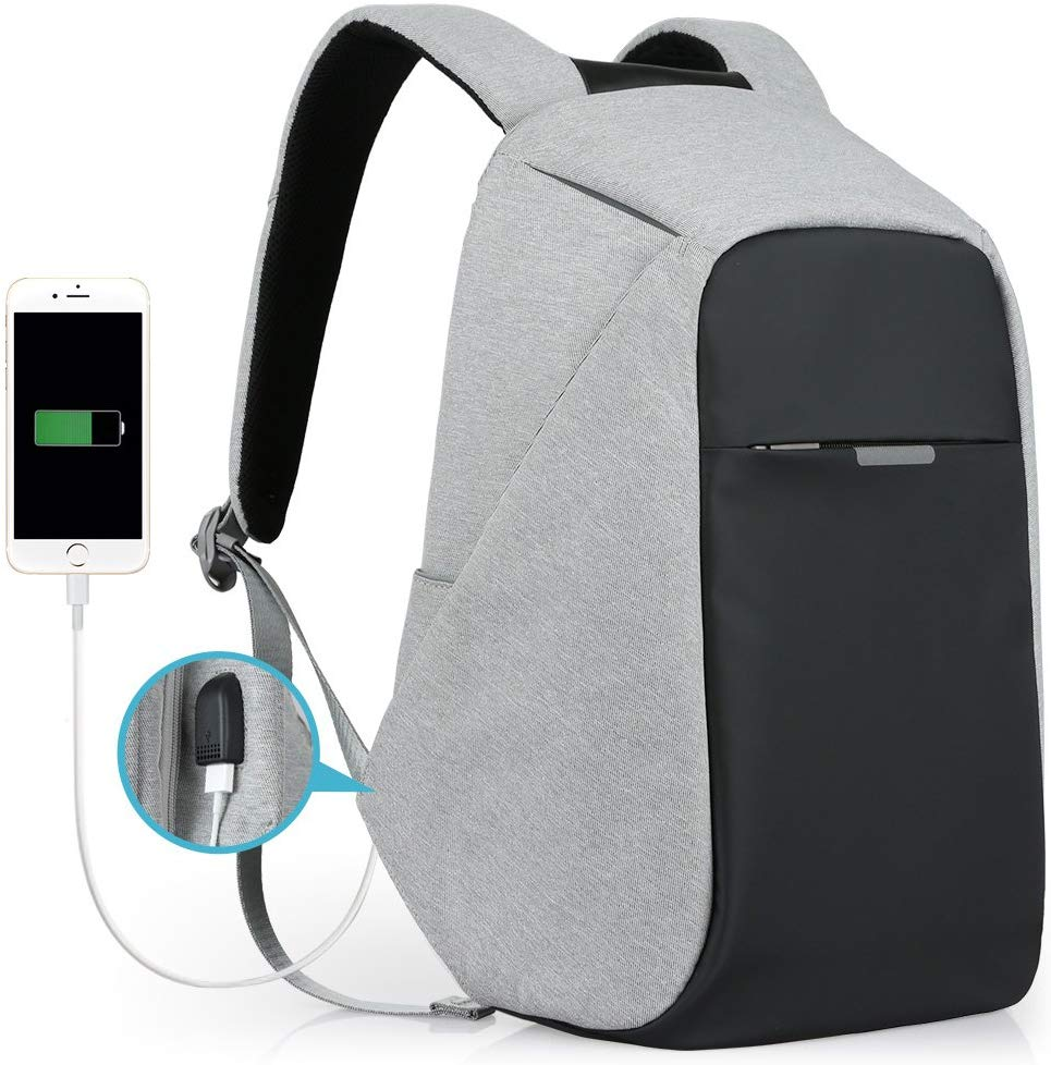Oscaurt Anti-theft Travel Backpack, Business Laptop School Bookbag with USB Charging Port