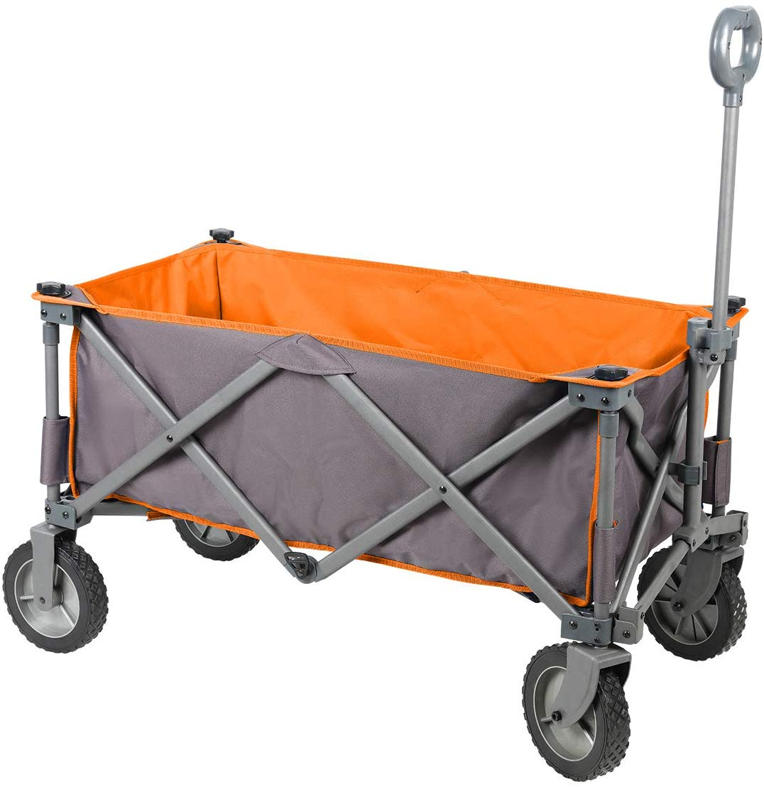 PORTAL Collapsible Folding Utility Wagon Quad Compact Outdoor Garden Camping Cart Removable Fabric