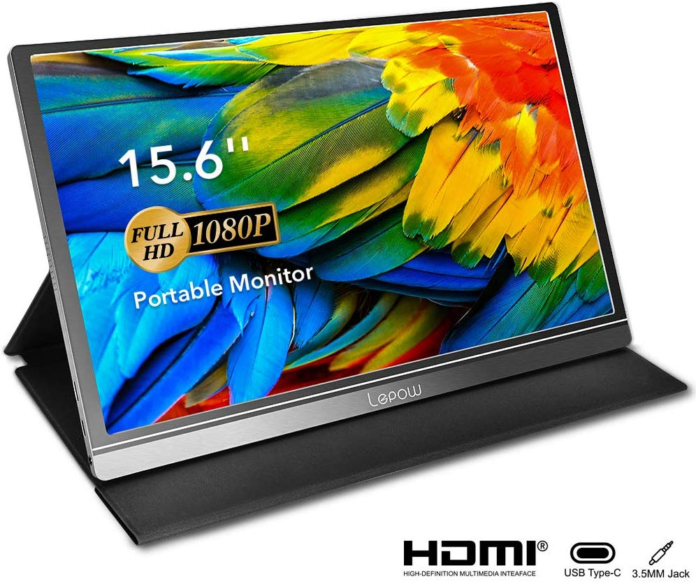 Portable Monitor - Lepow 15.6 Inch Computer Display 1920×1080 Full HD IPS Screen USB C Gaming Monitor