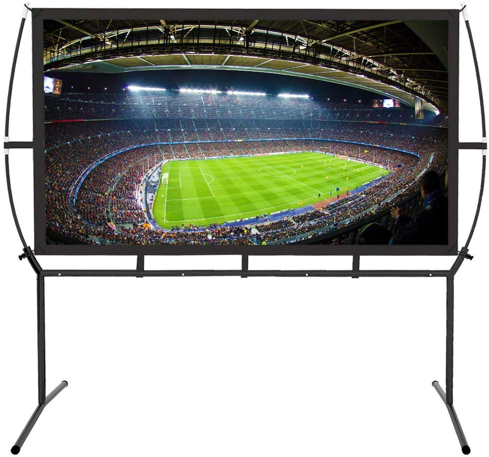"Portable Projector Screen with Stand, Indoor and Outdoor Movie Screen 120"" Diagonal 16:9 with Wrinkle-Free Design"
