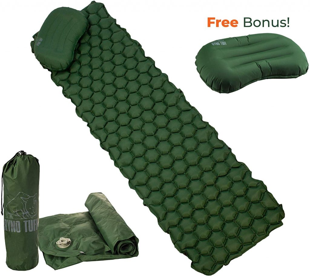 Ryno Tuff Sleeping Pad for Camping Ultralight - with Free Bonus Camping Pillow, The Inflatable Camping Mattress is Large Wide and Comfortable Yet Lightweight and Compact.