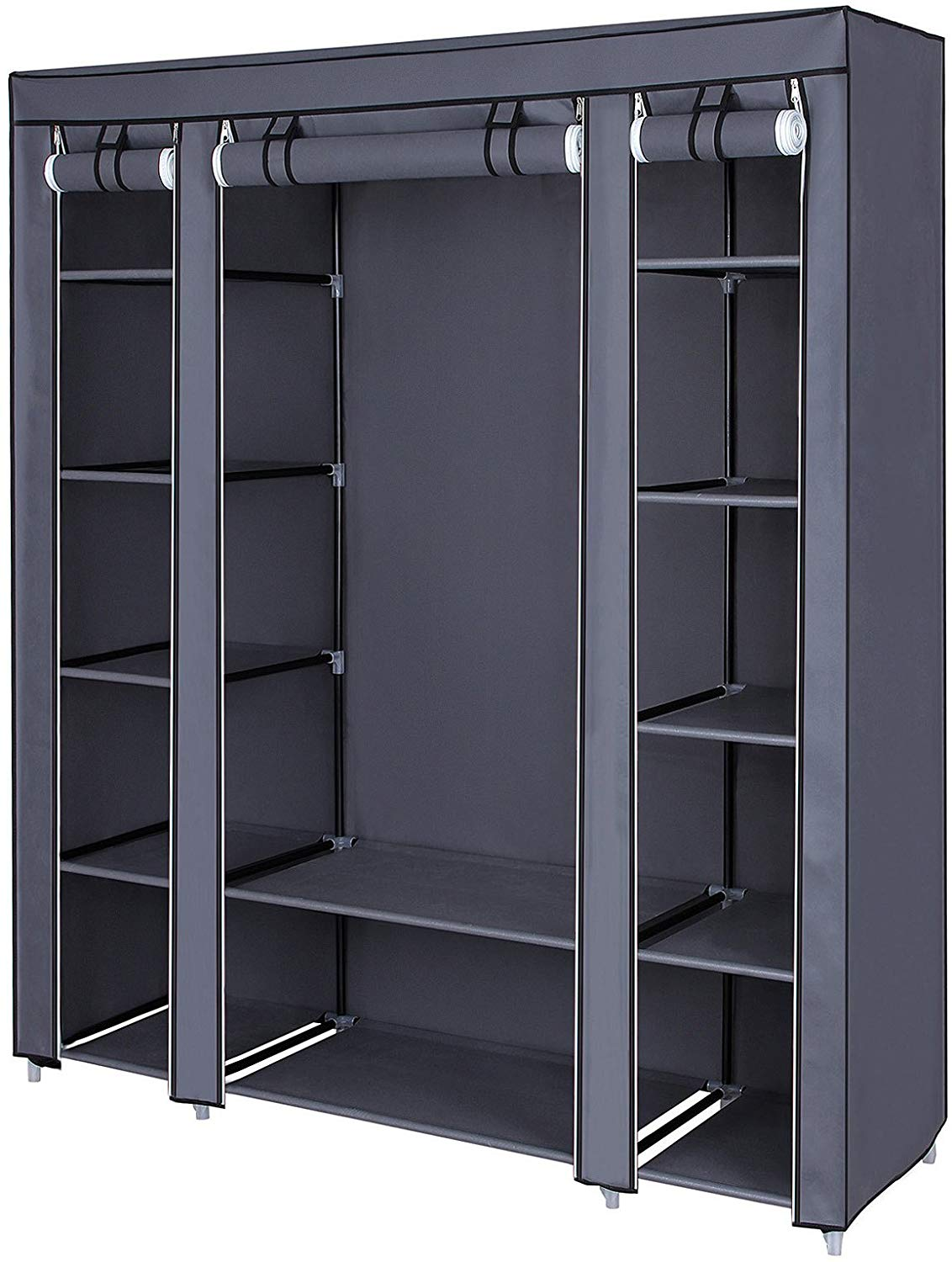 SONGMICS 59 Inch Closet Organizer Wardrobe Closet Portable Closet shelves, Closet Storage Organizer with Non-woven Fabric, Quick and Easy to Assemble, Extra Strong and Durable