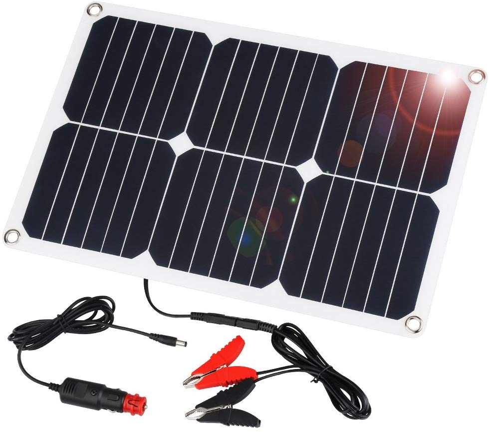 SUAOKI 18V 12V 18W Solar Car Battery Charger Portable Solar Panel Trickle Charger with Cigarette Lighter Plug, Battery Charging Clip Line for Motorcycle RV Boat Marine Snowmobile