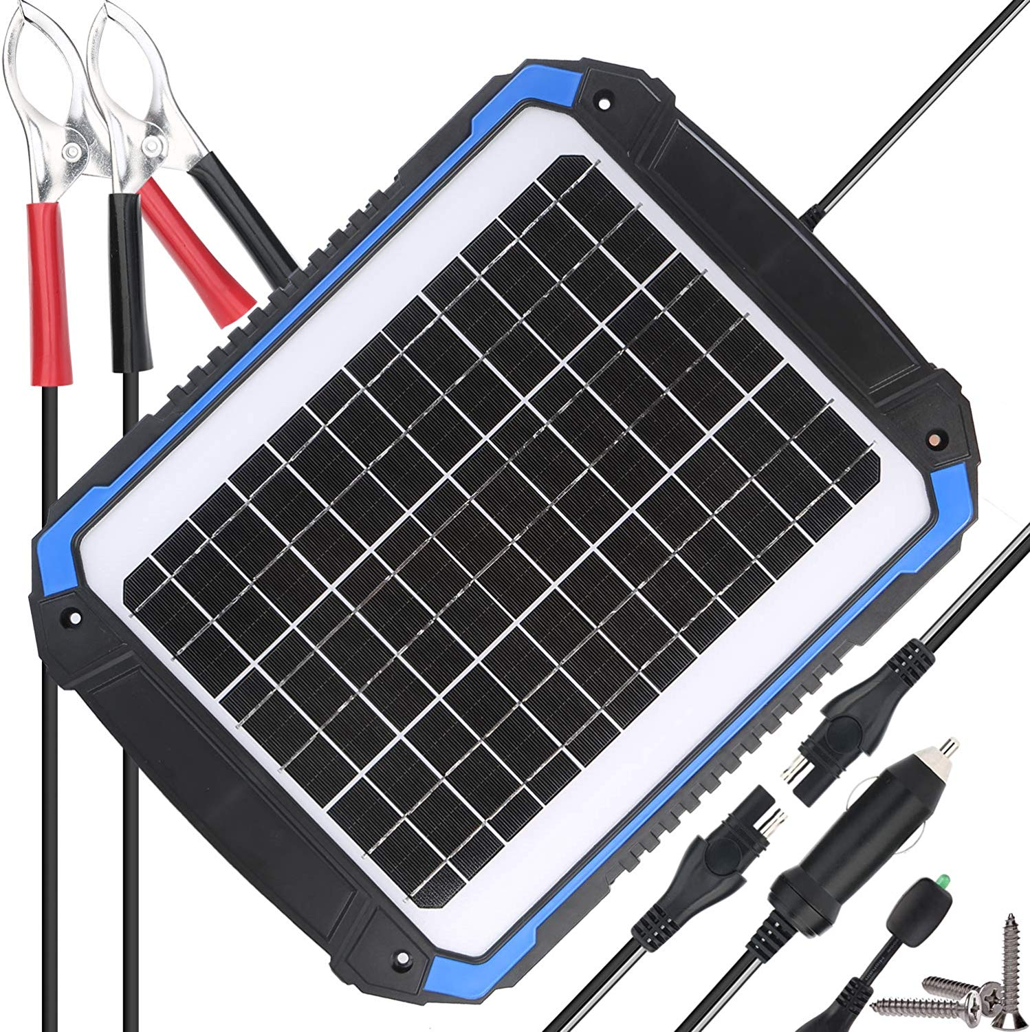 SUNER POWER 12V Solar Car Battery Charger & Maintainer - Portable 14W Solar Panel Trickle Charging Kit for Automotive, Motorcycle, Boat, Marine, RV, Trailer, Powersports, Snowmobile