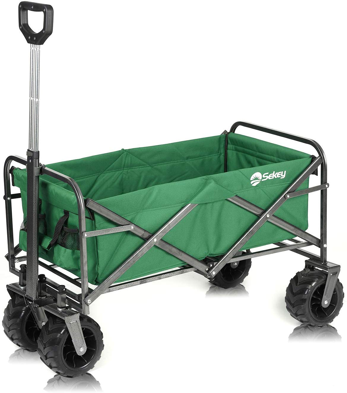 Sekey Folding Wagon Cart Beach Cart Collapsible Outdoor Utility Wagon Heavy Duty Wagon Collapsible Wagon with All-Terrain Wide Wheels and Telescopic Handle