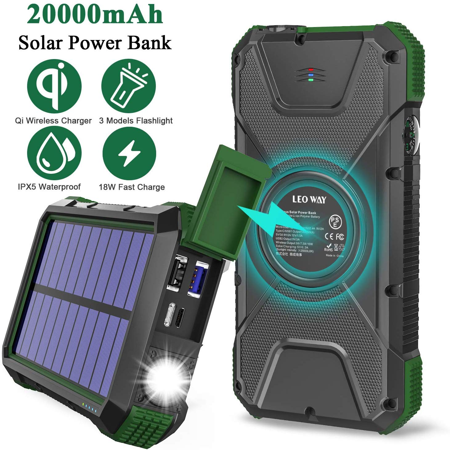 Solar Charger Power Bank 20000mAh, 18W QC3.0 and PD Fast Charging Portable Outdoor Wireless Charger