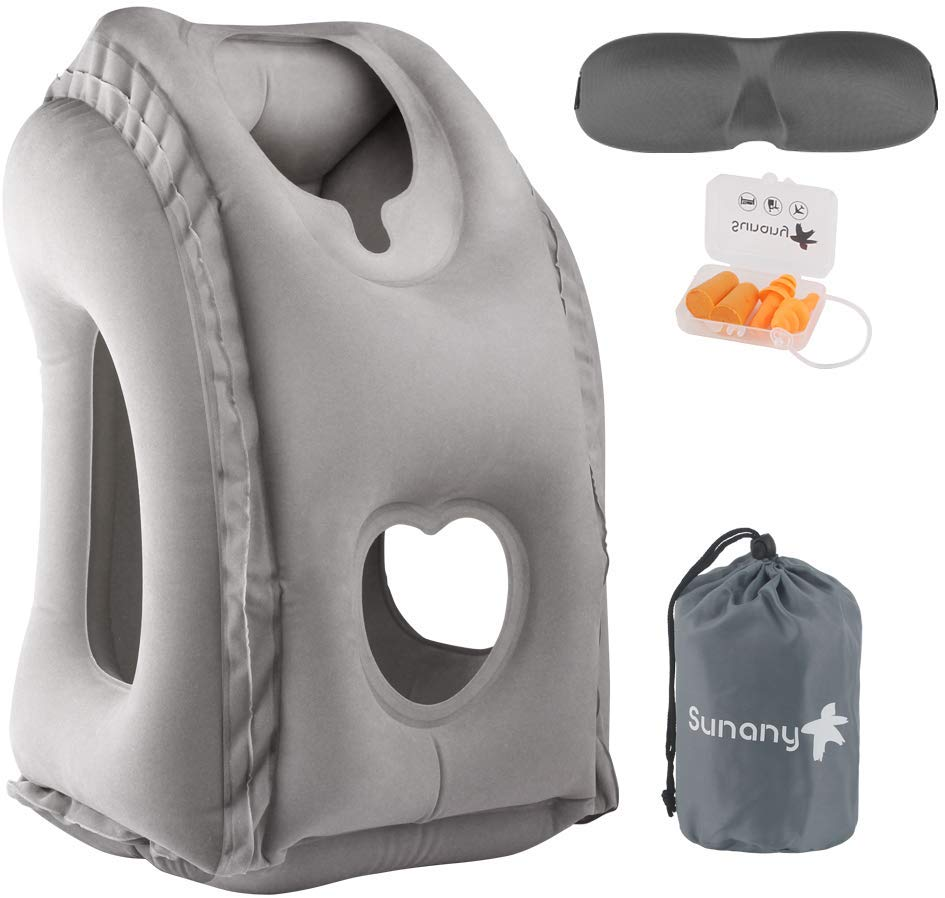 Sunany Inflatable Neck Pillow Used for Airplanes/Cars/Buses/Trains/Office Napping with Free Eye Mask/Earplugs (Gray)