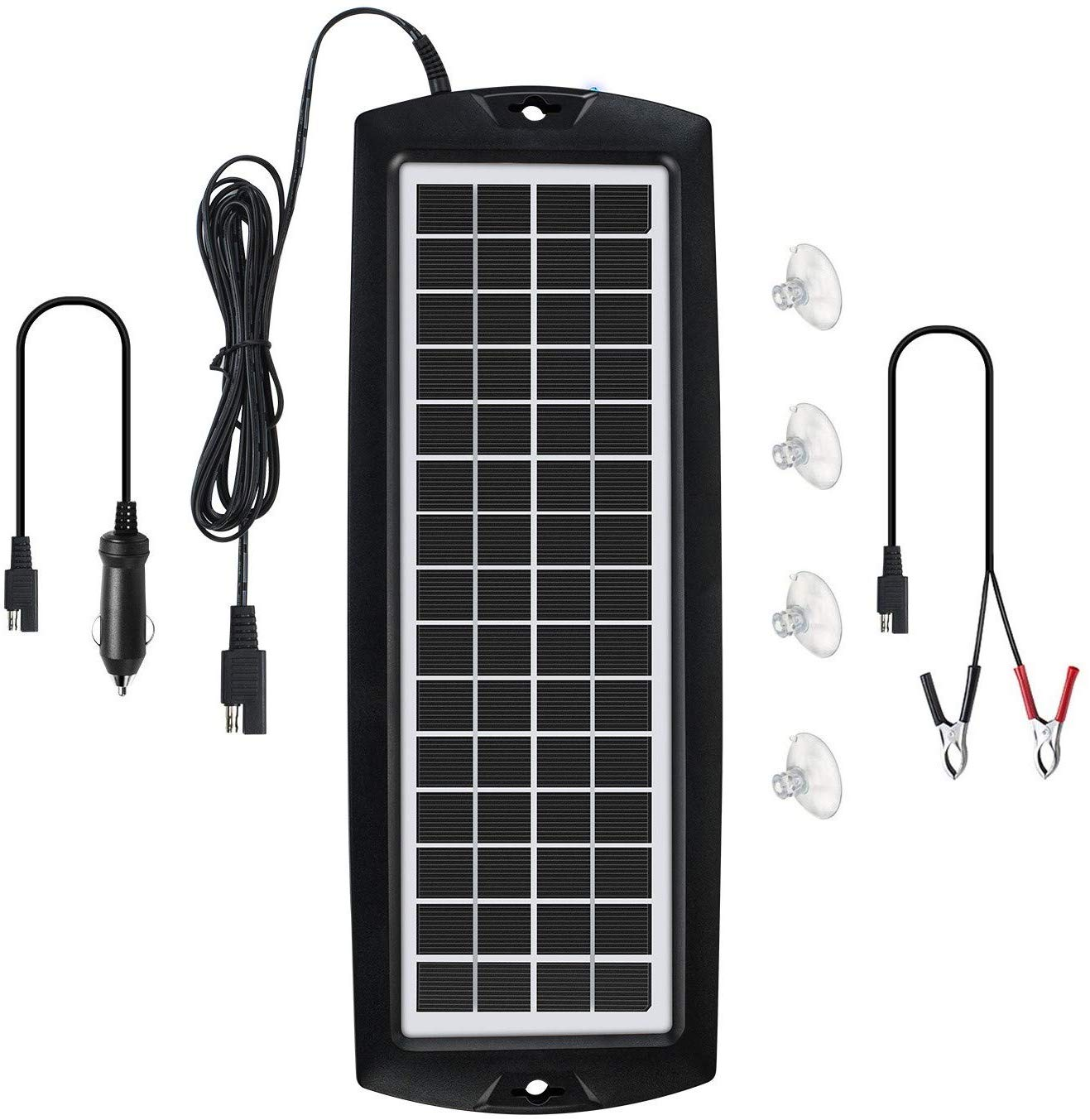 Sunway Solar Car Battery Trickle Charger & Maintainer 5W Solar Panel Power 12V Charger kit Portable Waterproof for Automotive RV Marine Boat Truck Motorcycle Trailer Tractor Powersports Snowmobiles