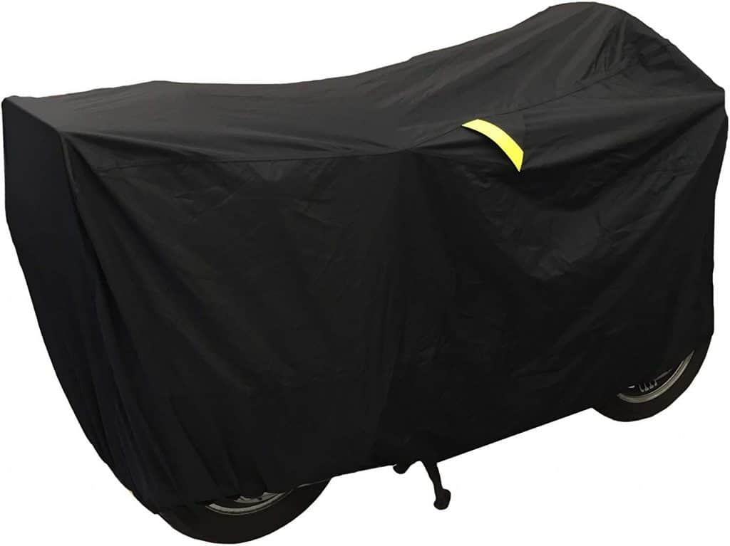 Ultimate Waterproof Motorcycle Cover - Outdoor Storage Motorcycle Covers for Harleys - Street or Sport Bike. Taped Seams, Windshield Liner, Heat Shield, Vents, Reflective, Grommets, Alarm Pockets, LG