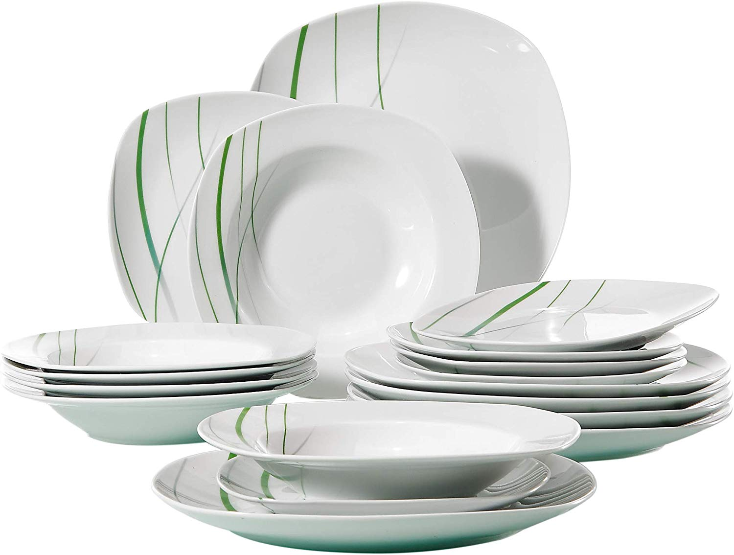 VEWEET 18-Piece Ceramic Stoneware Dinnerware Set Ivory White Plate Sets Green Stripe Patterns, Service for 6 Dinner Plate, Salad Plate, Dessert Plate