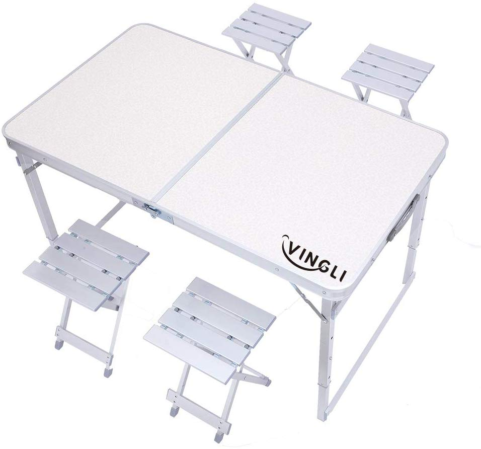 VINGLI Portable Picnic Table with 4 Seats,4 Foot Outdoor Folding Table Bench Aluminum Legs Heavy Duty for Dinner Banquet Camping Garden Party Dining Hiking Beach BBQ