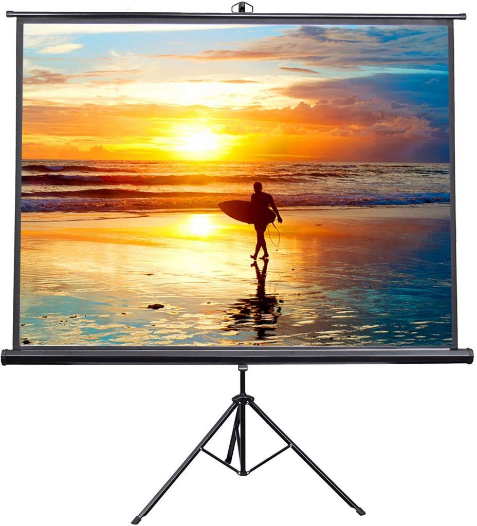 "VIVO 100"" Portable Indoor Outdoor Projector Screen, 100 Inch Diagonal Projection HD 4:3 Projection Pull Up Foldable Stand Tripod"