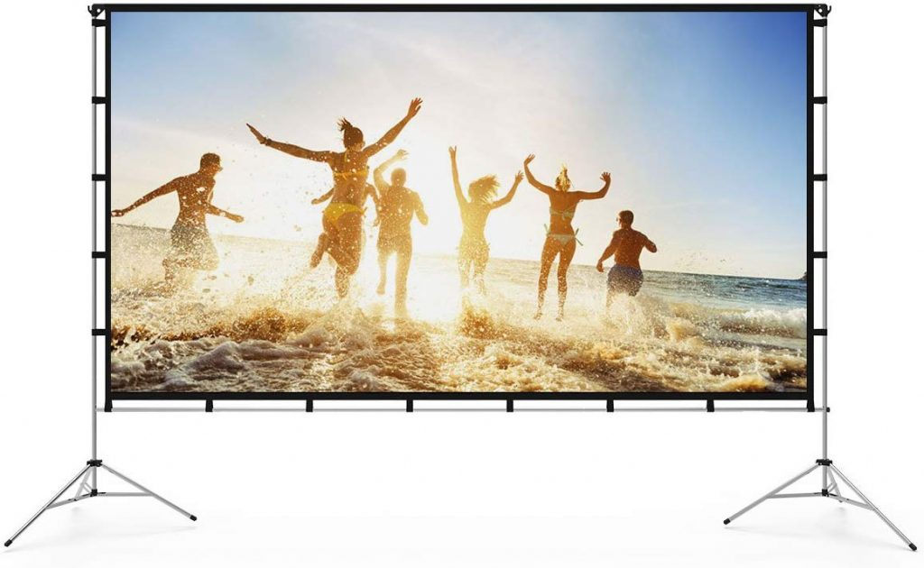 Vamvo Outdoor Indoor Projector Screen with Stand Foldable Portable Movie Screen