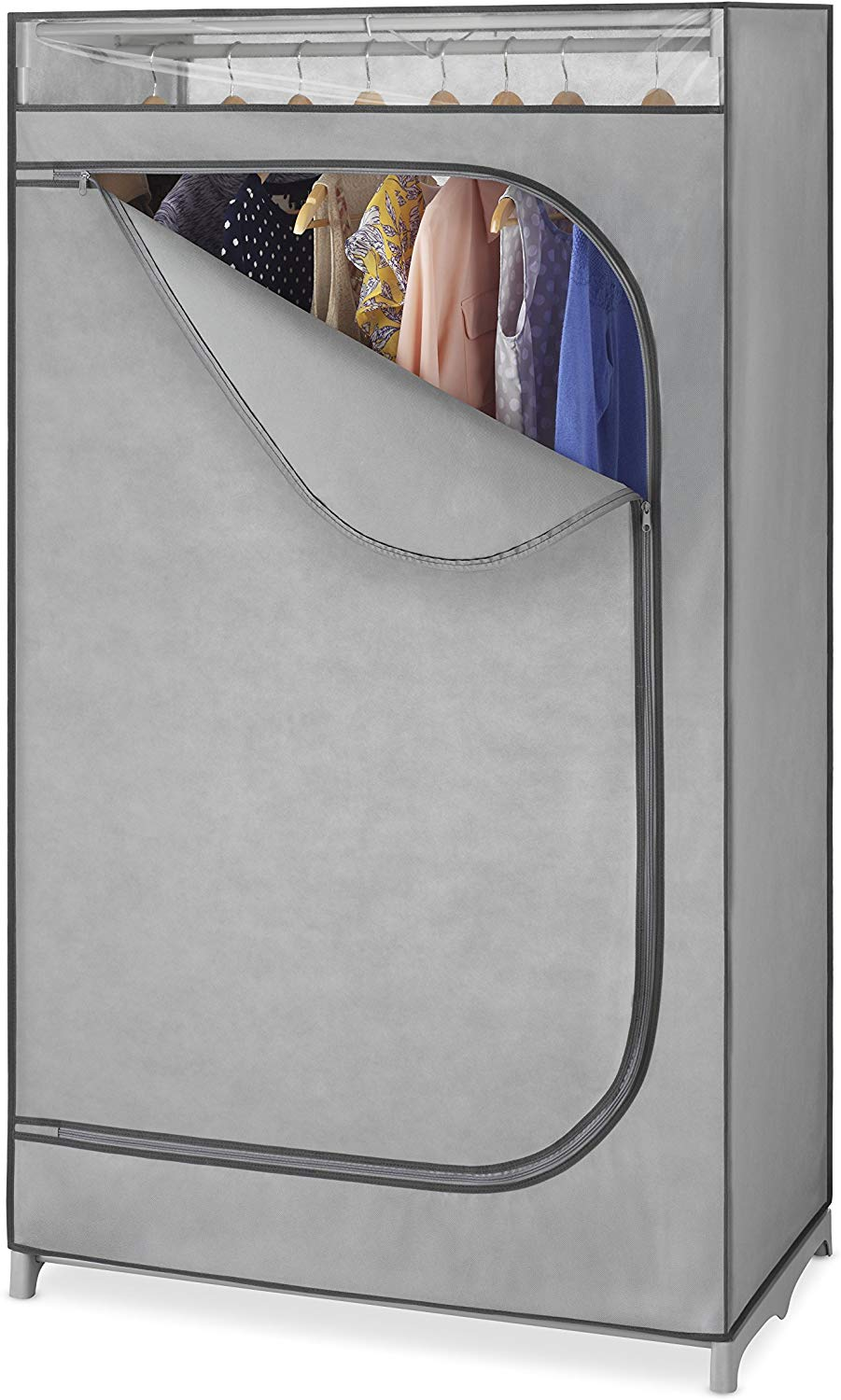 Whitmor Portable Wardrobe Clothes Closet Storage Organizer with Hanging Rack