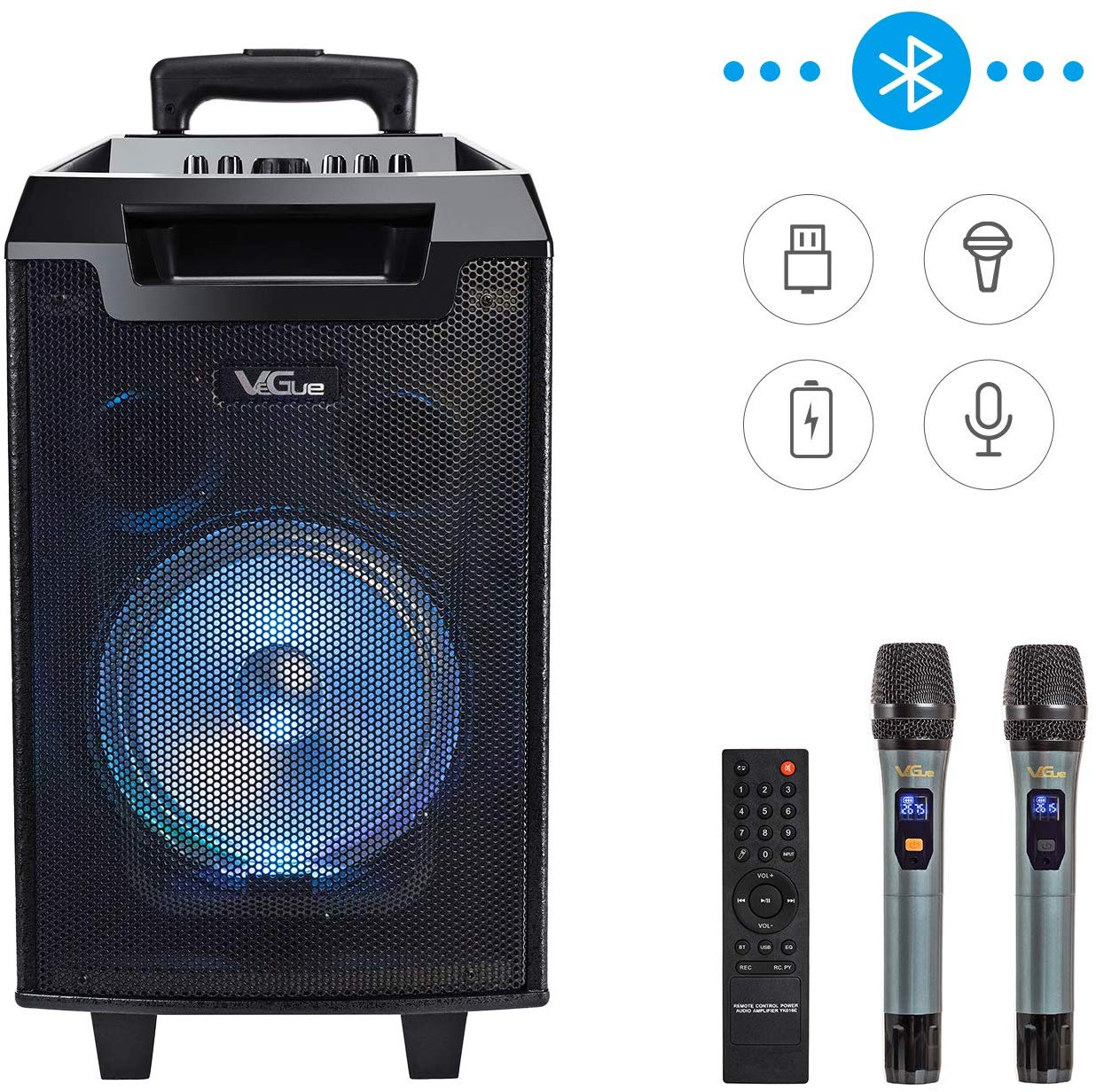 Wireless Portable PA Speaker System with 8'' Woofer Bluetooth Karaoke Machine for Party, Class use, Outdoor Activity, Public Speaking and Stage Performance