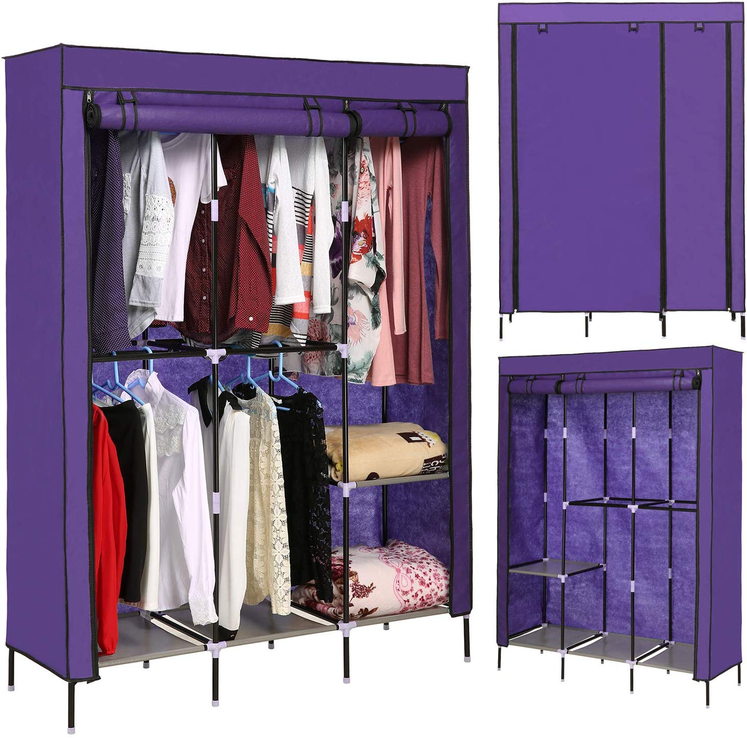 emdaot Portable Clothes Closet Organizer Wardrobe with Double Rod Shelves Freestanding Storage Wardrobe