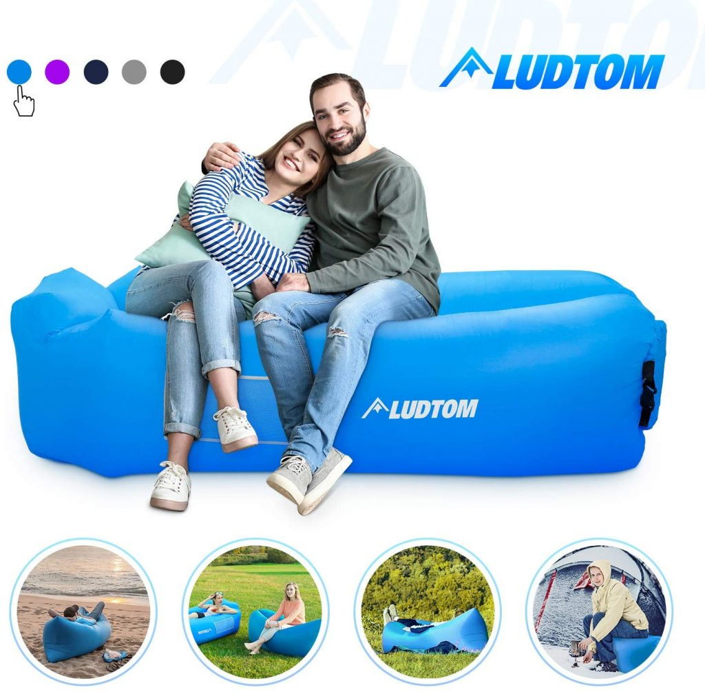 ludtom Inflatable Lounger Air Sofa Hammock, Portable Waterproof Anti-Air Leaking Pouch Couch Air Chair Camping Accessories for Traveling, Beach, Picnics, Hiking, Pool and Festival
