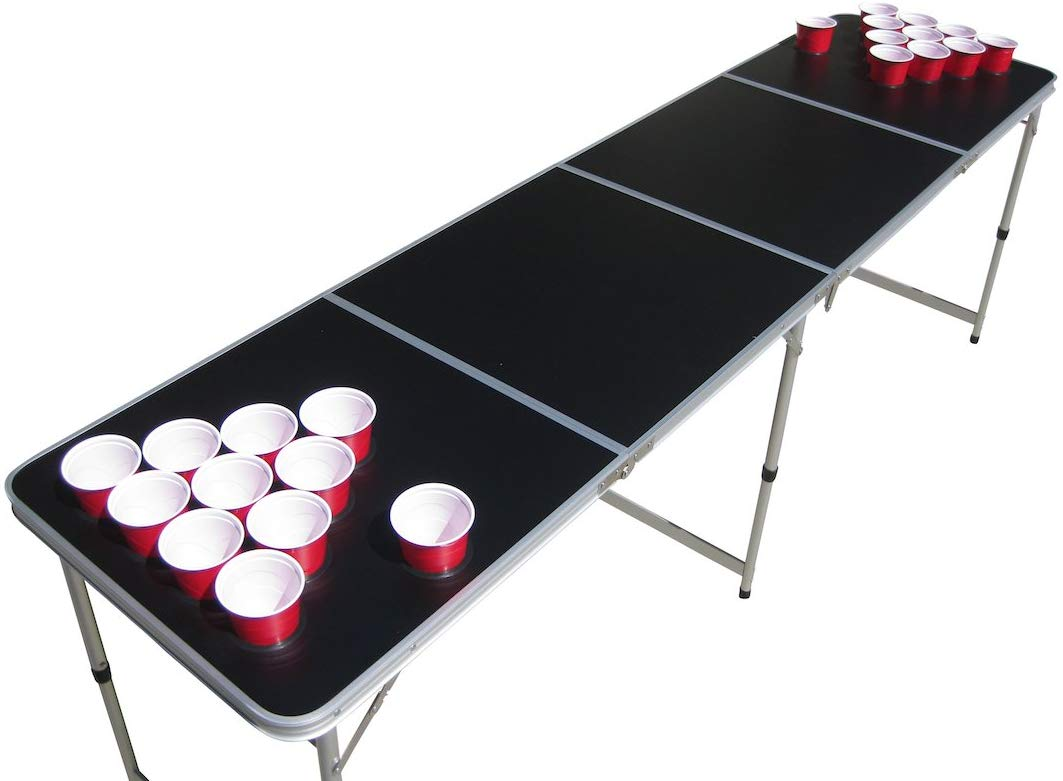 Blank Black Plain Customizable Beer Pong Table with Predrilled Cup Holes
