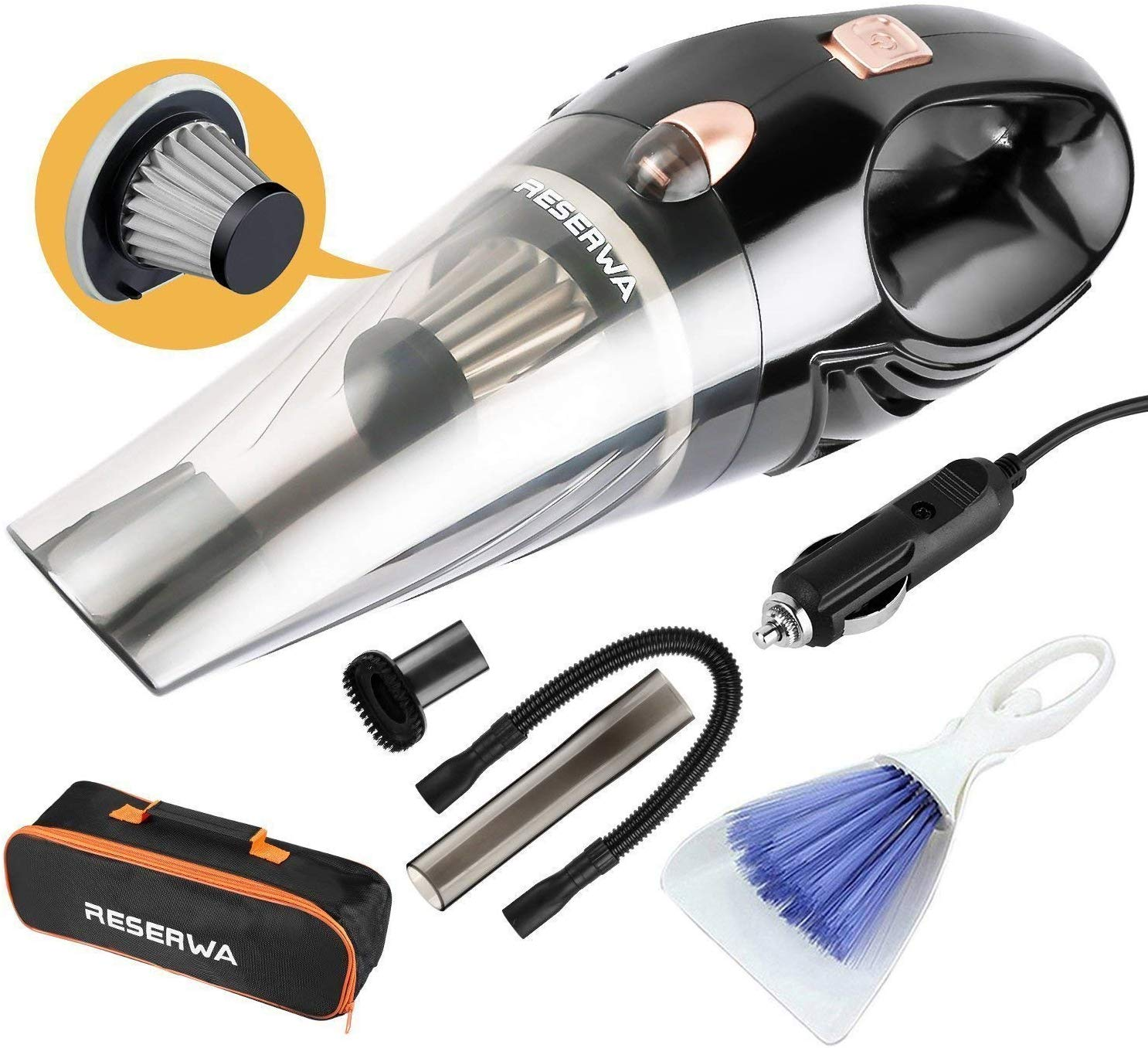 Car Vacuum 12V 106W Car Vacuum Cleaner 4500PA Much Stronger Suction Potable Handheld Auto Vacuum Cleaner