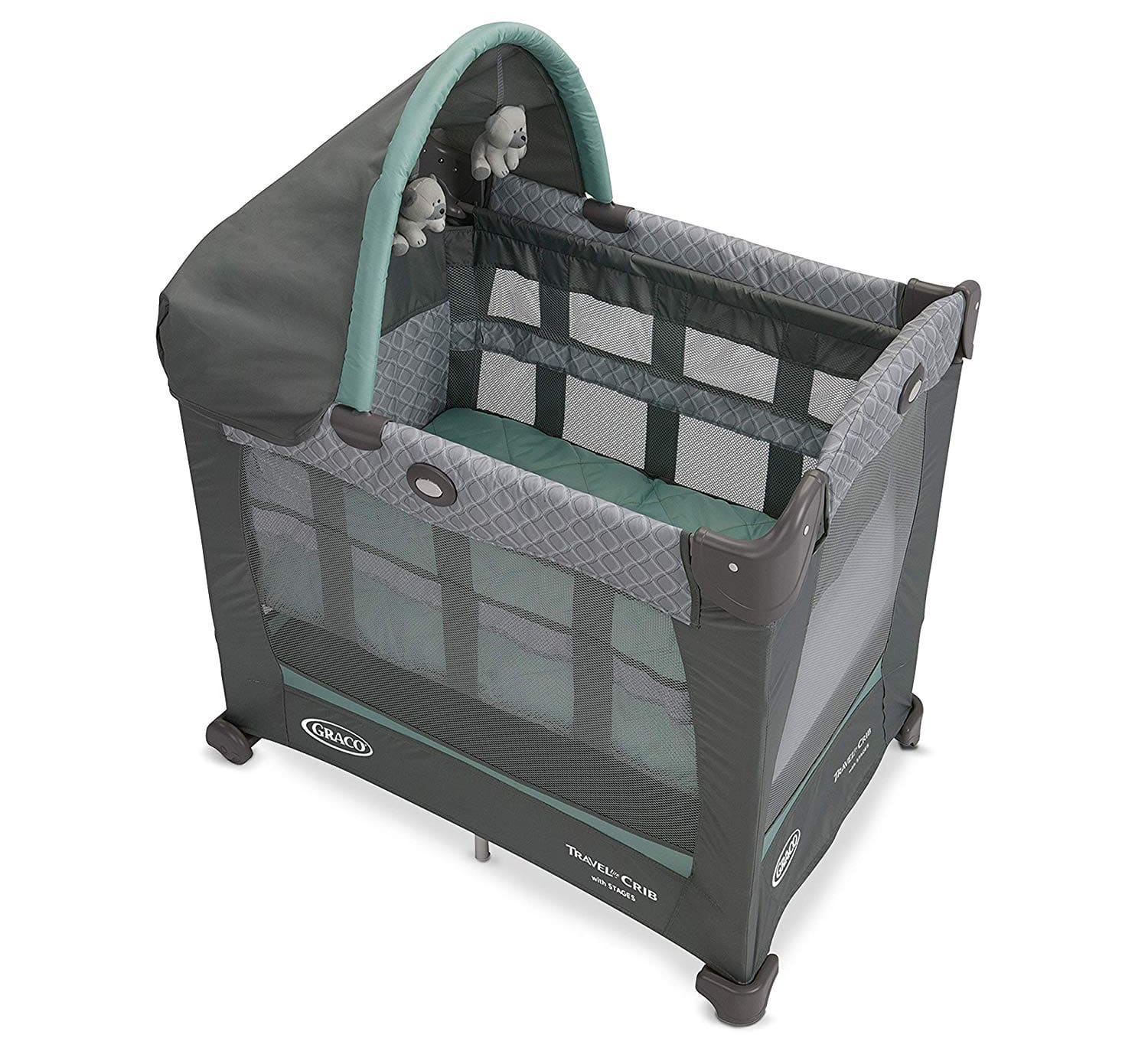 Graco Travel Lite Crib | Travel Crib Converts from Bassinet to Playard