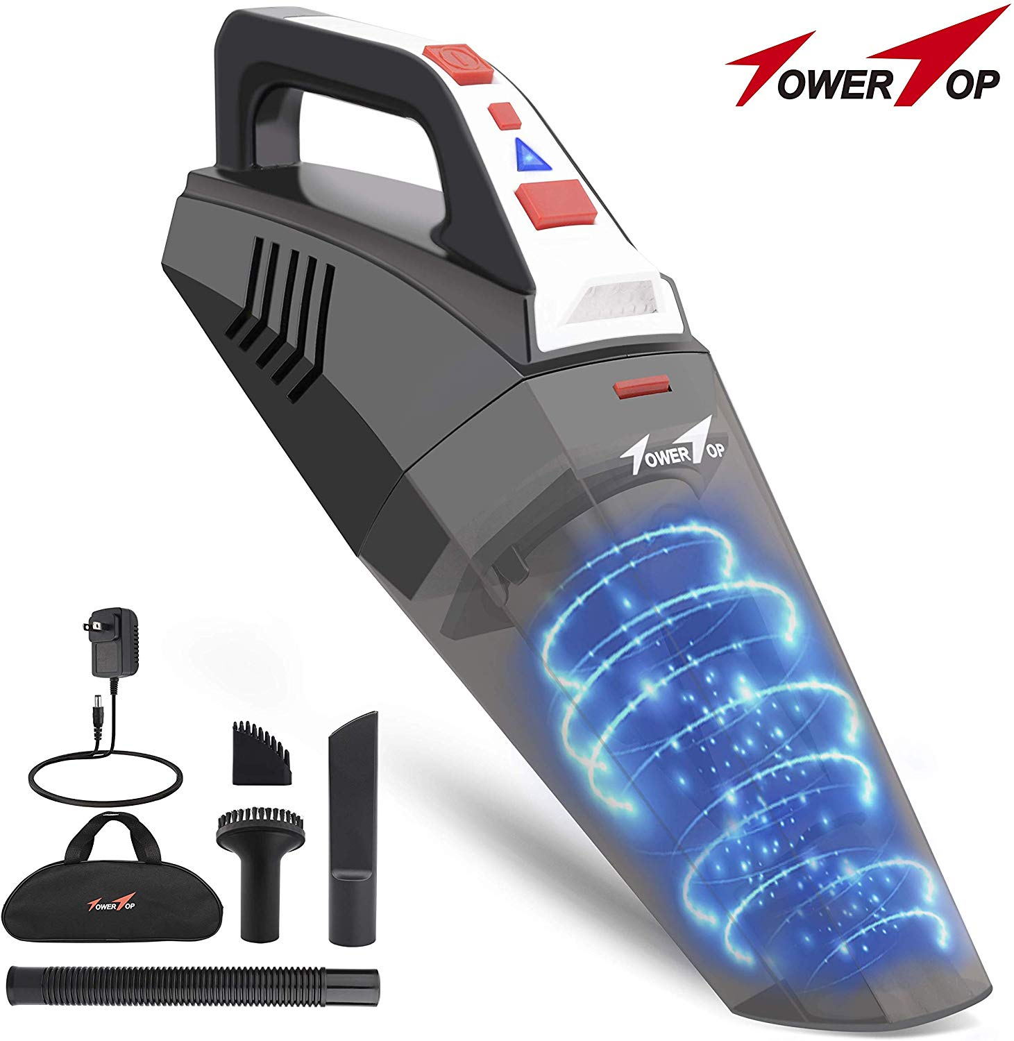 Handheld Vacuum, Cordless Vacuum Cleaner, Portable Rechargeable Vacuum Cleaner Handheld, Lightweight Wet/Dry Car Vacuum Cleaner, 2 LED Light&Stainless Steel Filter for Home and Car