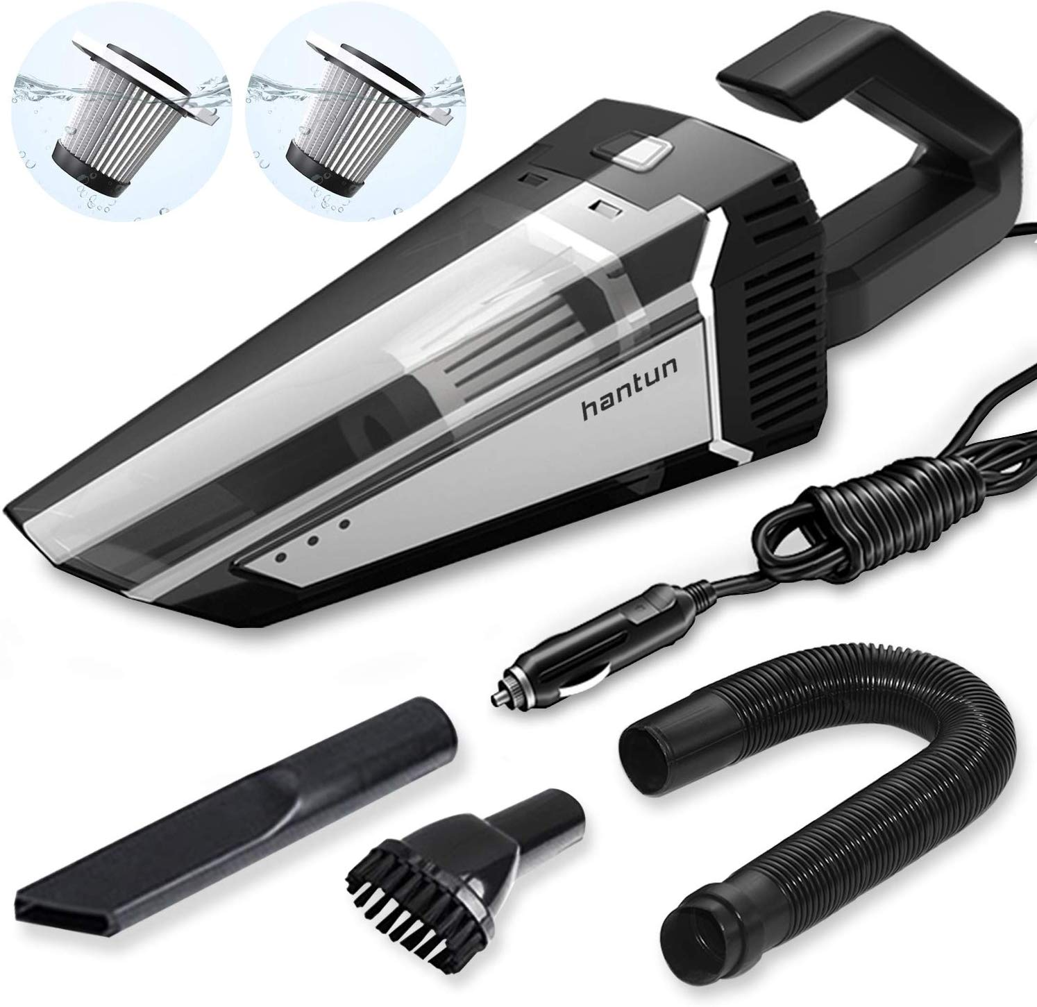 Hantun Car Vacuum, High Power DC 12V 5000PA Strong Suction Portable Handheld Car Vacuum Cleaner with 16.4FT Power Cord, Strong Aluminum Fan, HEPA Filter, Wet/Dry Use, for Car Cleaning