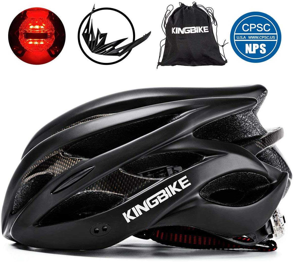 KINGBIKE Ultralight Bike Helmets CPSC&CE Certified with Rear Light + Portable Simple Backpack + Detachable Visor for Men Women