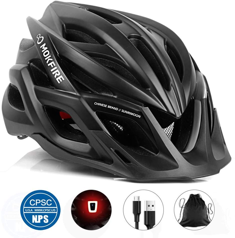 MOKFIRE Adult Bike Helmet CPSC Certified with Rechargeable USB Light, Bicycle Helmet for Men Women Road Cycling & Mountain Biking