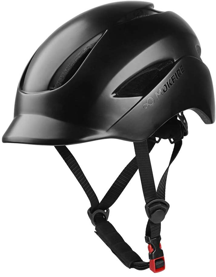 MOKFIRE Adult Bike Helmet That's Light, Cool & Sleek, Cycling Helmet CPSC and CE Certified with Rear Light for Urban Commuter Adjustable Size