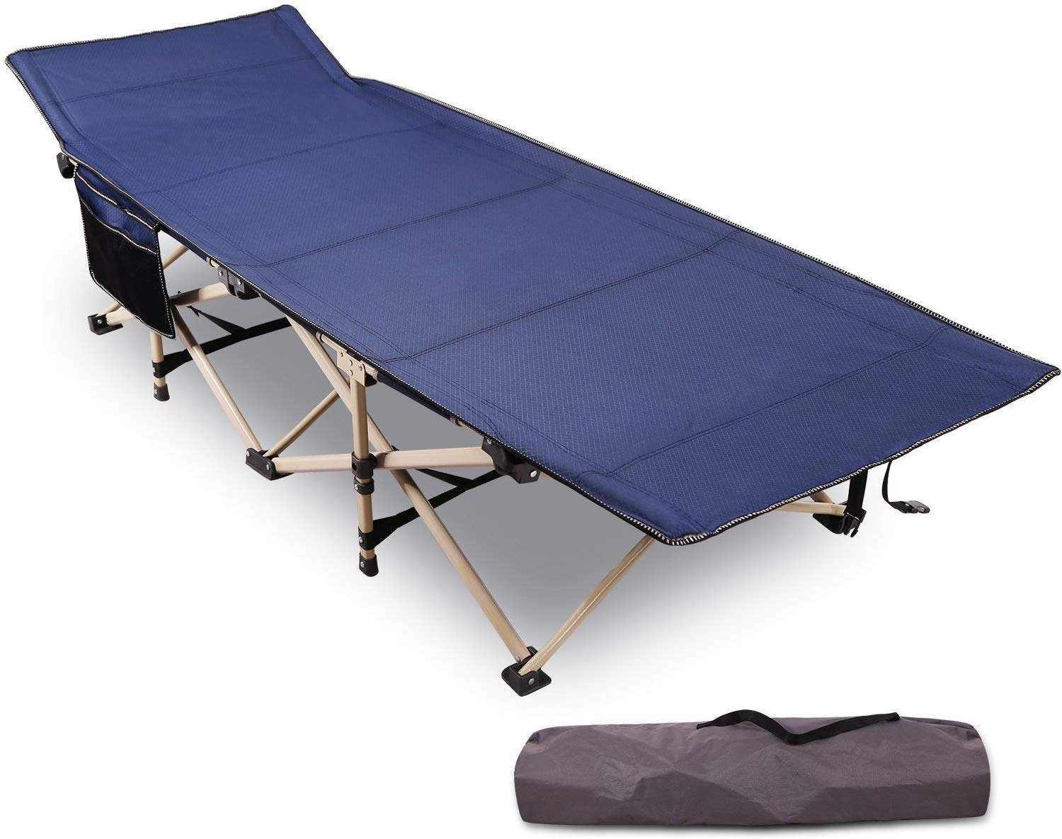 REDCAMP Folding Camping Cots for Adults Heavy Duty, 28in - 33in Extra Wide Sturdy Portable Sleeping Cot for Camp Office Use, Blue Gray Green