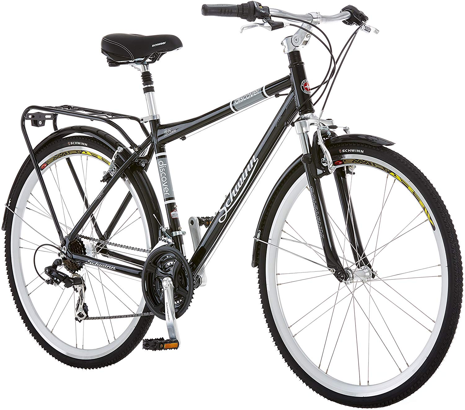 Schwinn Discover Hybrid Bikes for Men and Women, Featuring Aluminum City Frame, 21-Speed Drivetrain, Front and Rear Fenders, Rear Cargo Rack, and Kick-Stand