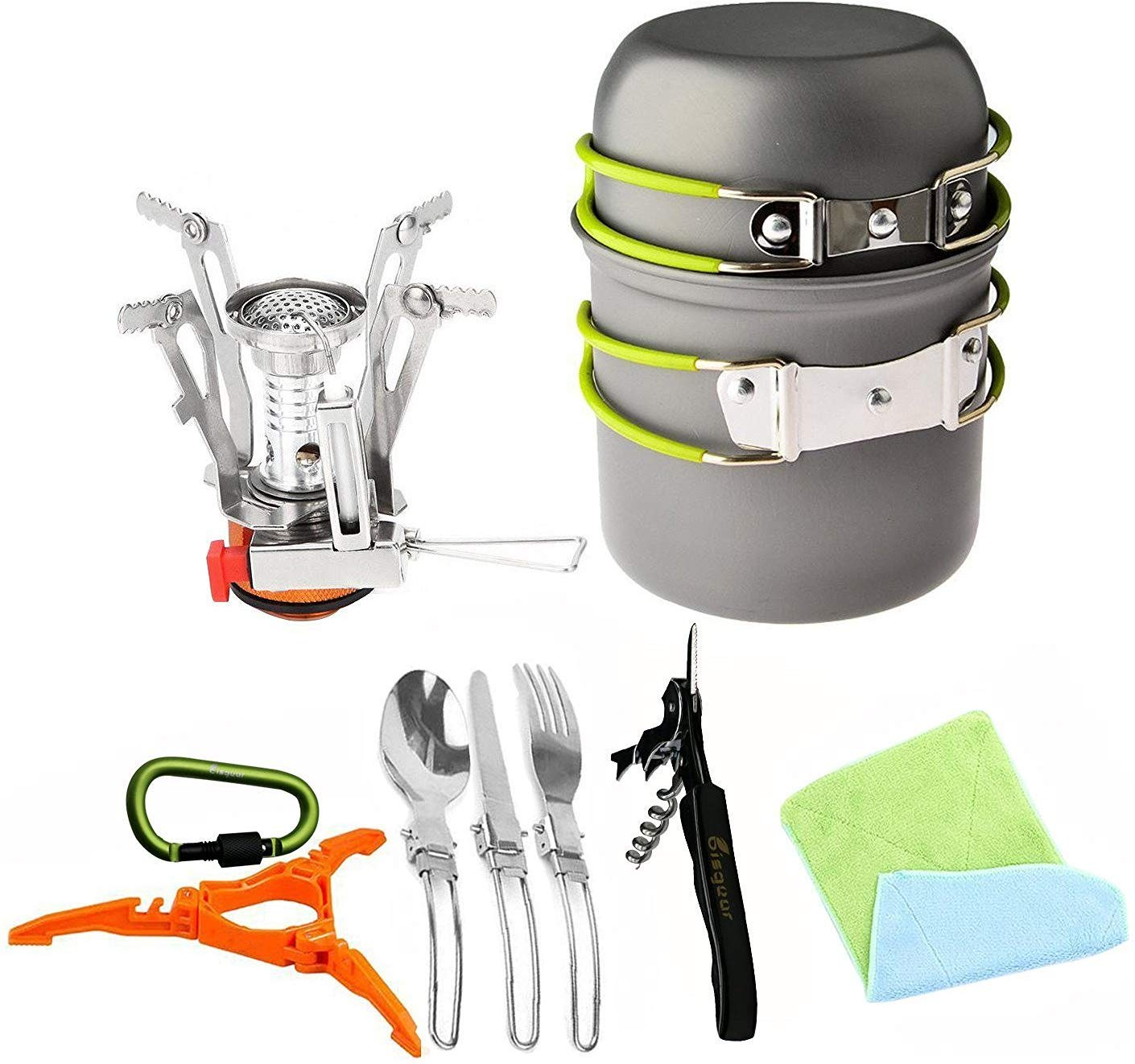 Bisgear 16 Pcs Camping Cookware Stove