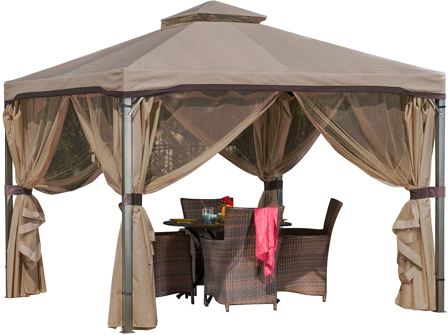 Christopher Knight Home Sonoma Canopy Gazebo, 10 x 10 feet Soft-Top Garden Tent with Mosquito Netting and Shade Curtains for Patio or Deck